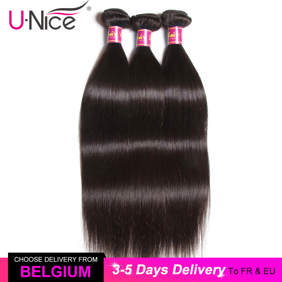 UNICE Weave Bundles Natural-Color Brazilian Straight 100%Human-Hair Remy 1/3/4pcs