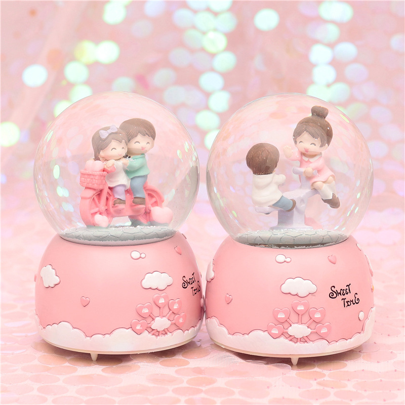 Romantic Couple Crystal Snow Globes <font><b>Glass</b></font> Music Box <font><b>snowball</b></font> Home Office INterior Decoration Christmas Valentine Day Gifts image