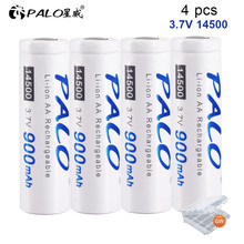 PALO 3.7V 14500 Rechargeable Battery 900mAh Lithium for Shaver Microphone thermometer 14500 Battery