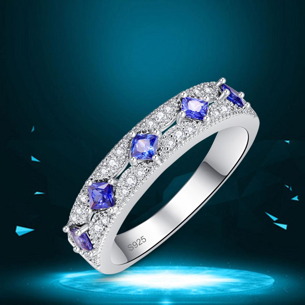 J.C Princess Cut Tanzanite & Ruby 925 Sterling Silver Ring Size 6 7 8 9 Women Wedding Exquisite Jewelry Gift