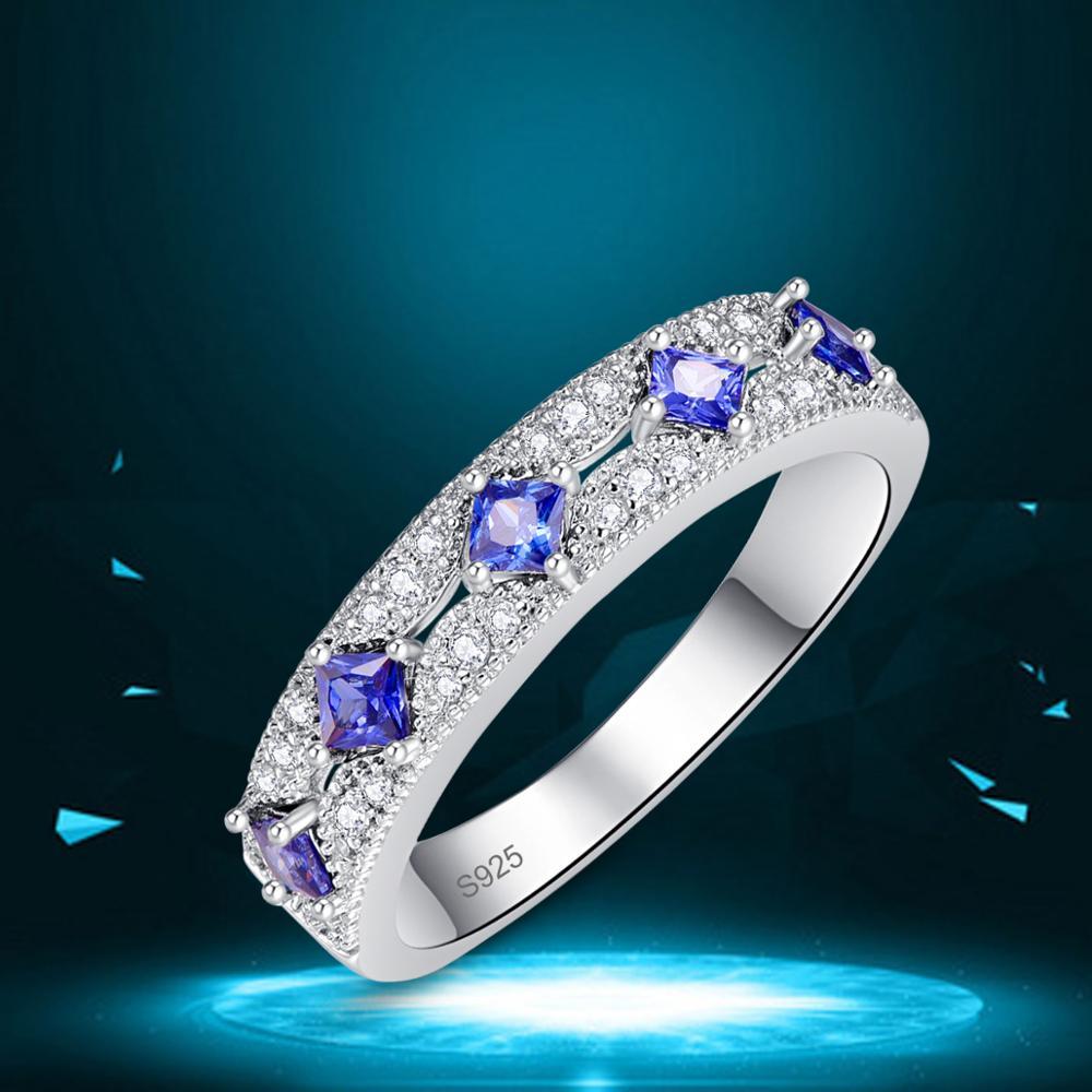 J.C princesse taille Tanzanite & rubis 925 bague en argent Sterling taille 6 7 8 9 femmes mariage exquis bijoux cadeau