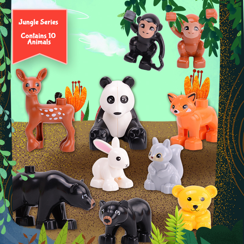 Duploe Jungle Animal Series Black Bear Monkey Fox Deer Panda Toy Compatible With Duploed Toys For Children Kids Birthday Gifts