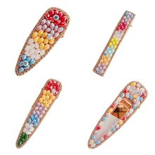 Women Girls Summer Rainbow Faux Crystal Hair Clip Beach Styling Barrette Glitter Rhinestone Jewelry Water Drop Duckbill Hairgrip стоимость