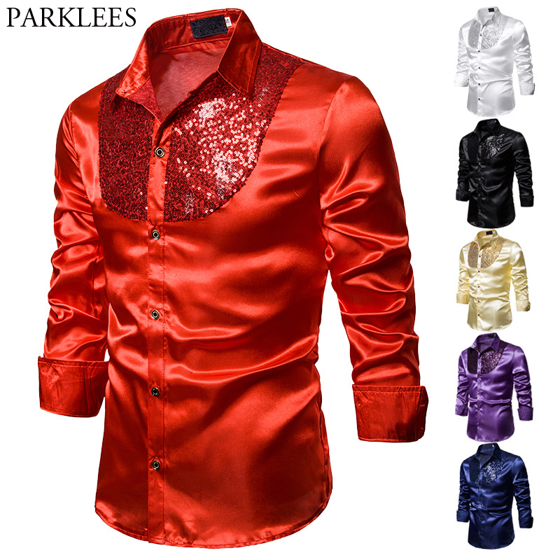 Red Sequin Glitter Silk Shirt Men 2020 Fashion Stage Prom Dance Mens Dress Shirts Party Wedding Groom Satin Patchwork Shirt Male