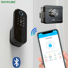 RAYKUBE Fingeprint Door Lock With Bluetooth TT Lock APP Password Smart Card 13.56mhz IC Work With Gateway Wifi Alexa T03