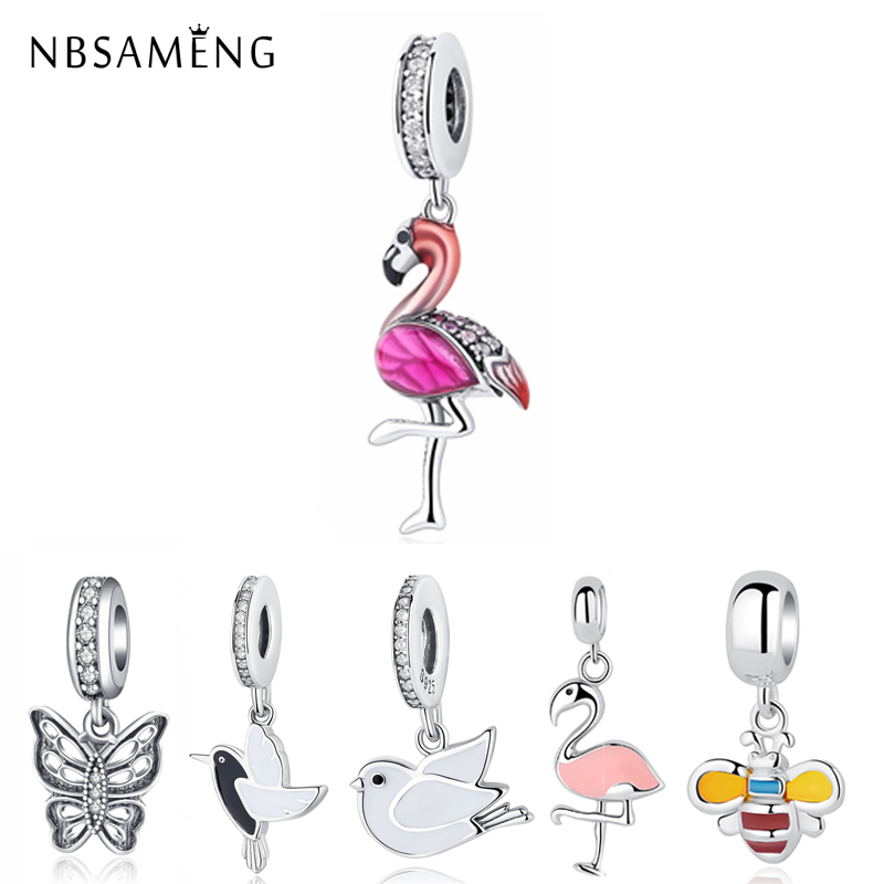 New 925 Sterling Silver Bead Pink Flamingo & Colorful Parrot Pendant Crystal Charms Beads Fit Original Pandora Bracelets Jewelry(China)