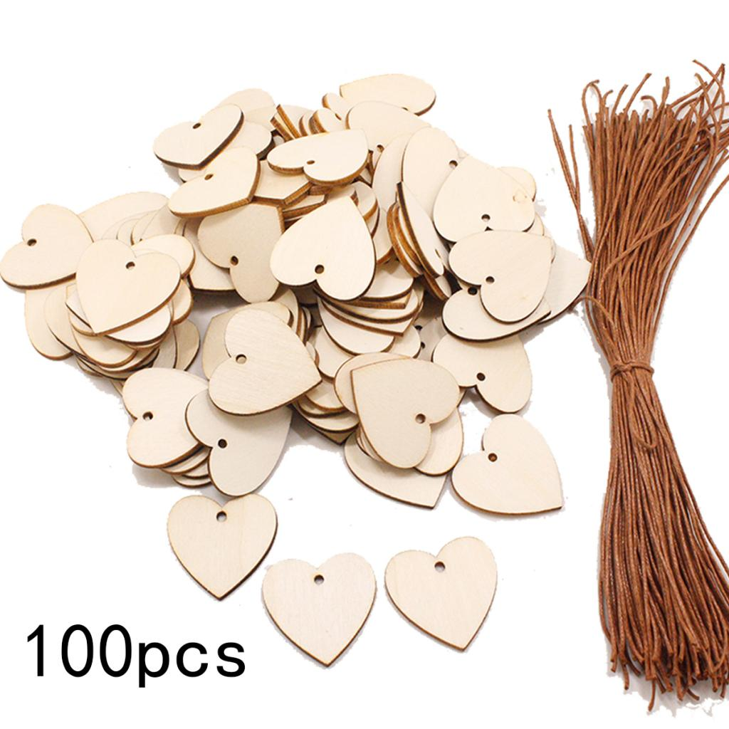 100Pcs Blank Heart Wooden Slices Wood Plaque Board For Art Crafts Birthday Reminder DIY Calendar Accessories Home Decoration