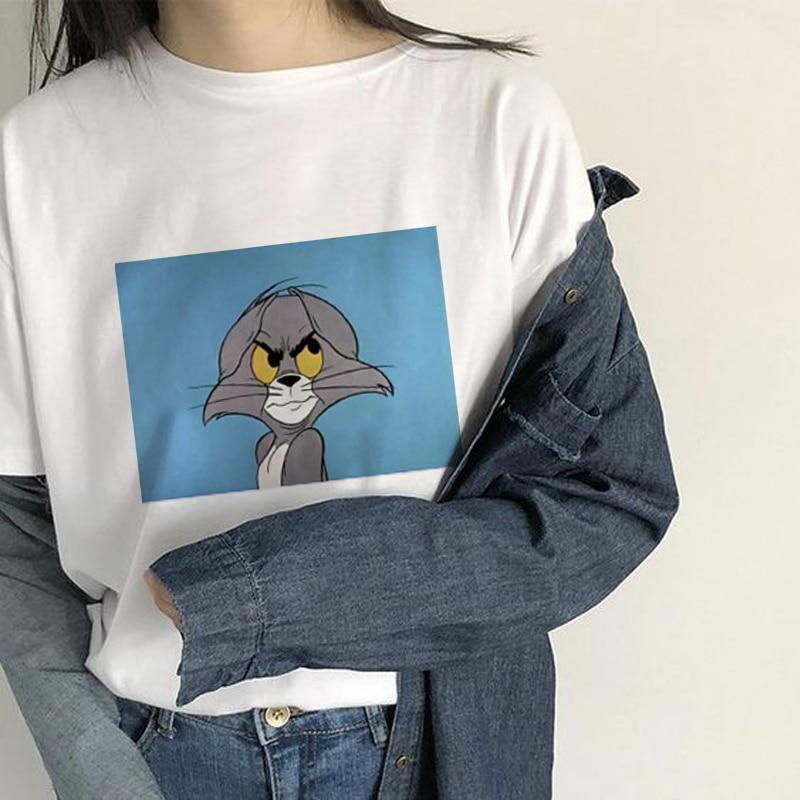 Ulzzang Casual Short Sleeve Funny T Shirts Cat Tom&Mouse Jerry Femme Tops Tees Harajuku T-Shirt Cartoon Print Kawaii