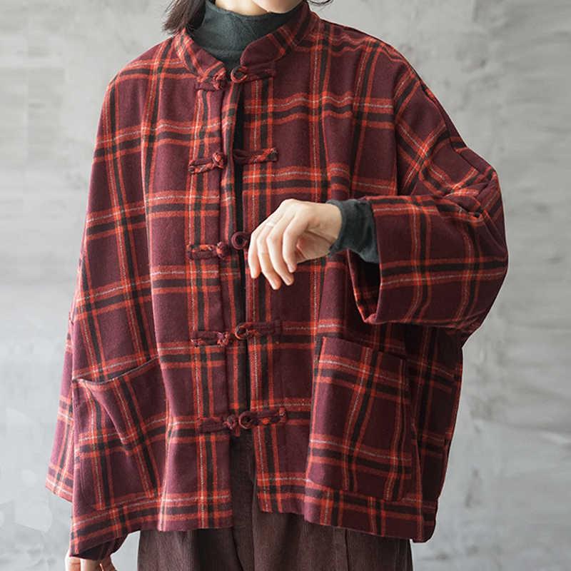 Johnature di Modo di Inverno Plaid Del Basamento Monopetto Cappotto di Spessore 2020 Nuovo Allentato Comodo All-partita A Manica Lunga Donne Giacca