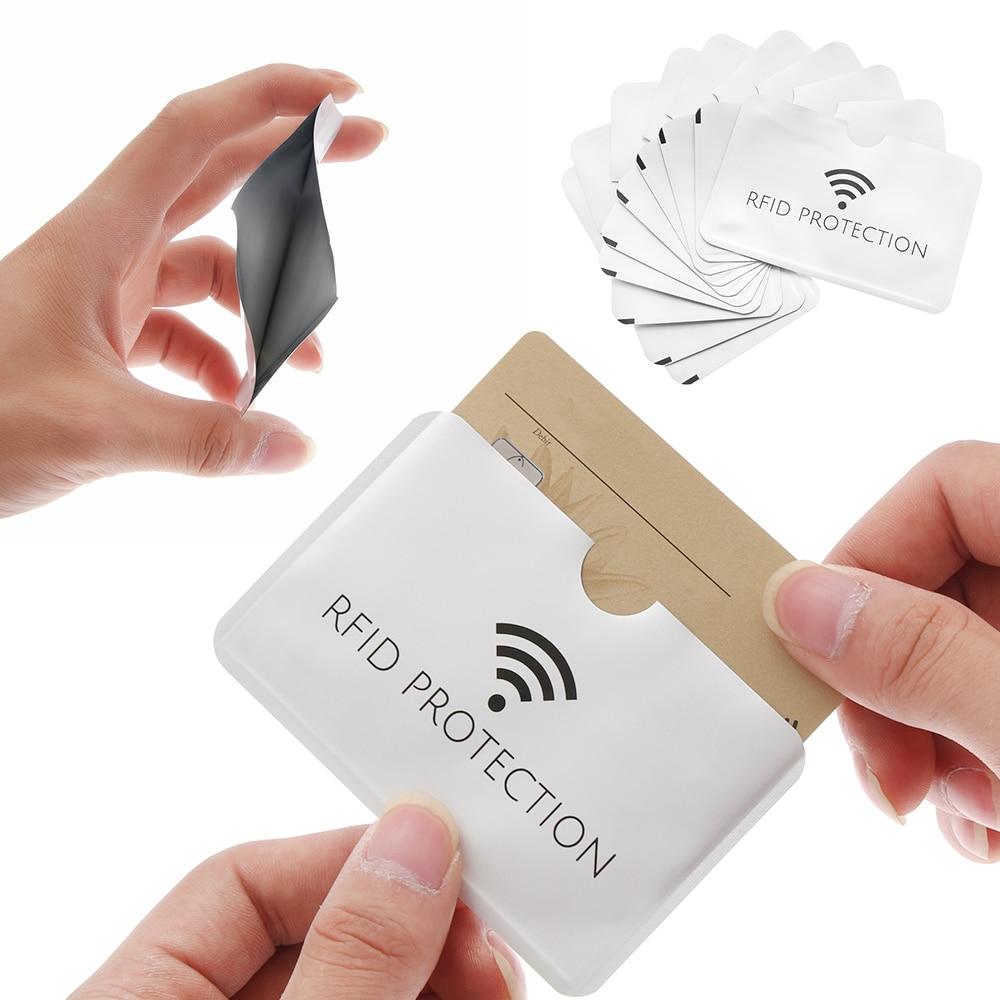 10Pcs Anti Rfid ID Card Holder Silver Laser Aluminium Wallet  Blocking Reader Lock Bank Card Case Credit Cards Covers Dropship