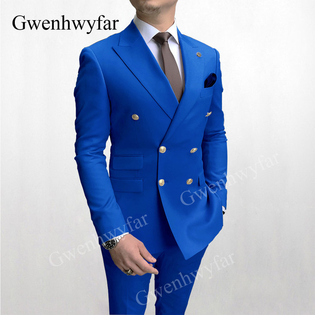 Gwenhwyfar Sky Blue Men Suits Double Breasted 2020 Latest Design Gold Button Groom Wedding Tuxedos Best Costume Homme 2 Pieces 5