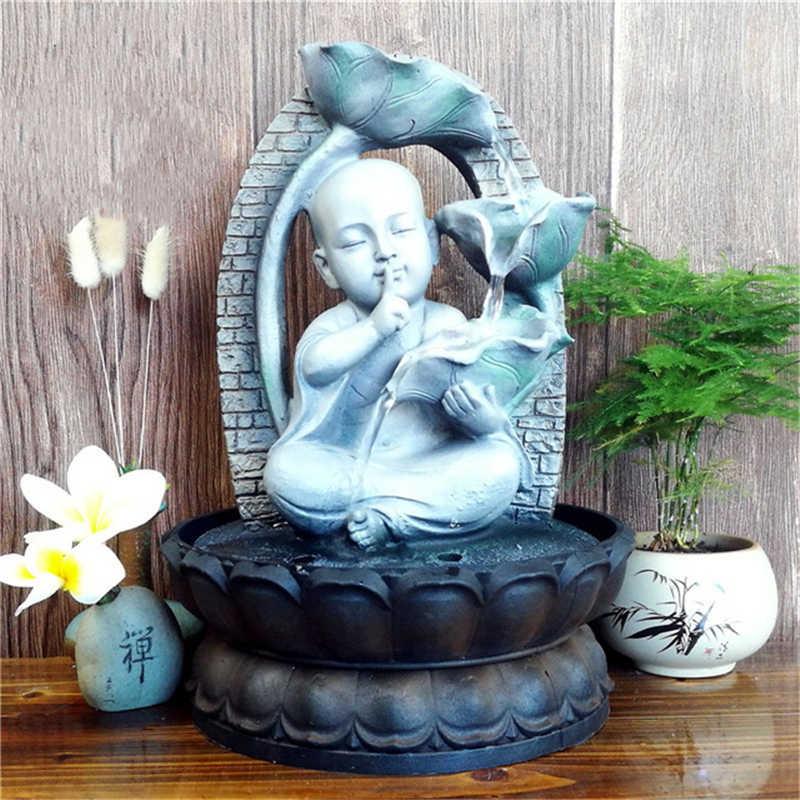 クリエイティブリトル · モンク禅屋内噴水幸運仏風水風水の装飾品リビングルームの家の装飾水辺工芸品