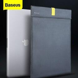 BASEUS Laptop Bag Case untuk Macbook Air Pro 13 14 15 16 Inch Mac Book PU Kulit Penutup Lengan untuk notebook Komputer Coque Fundas