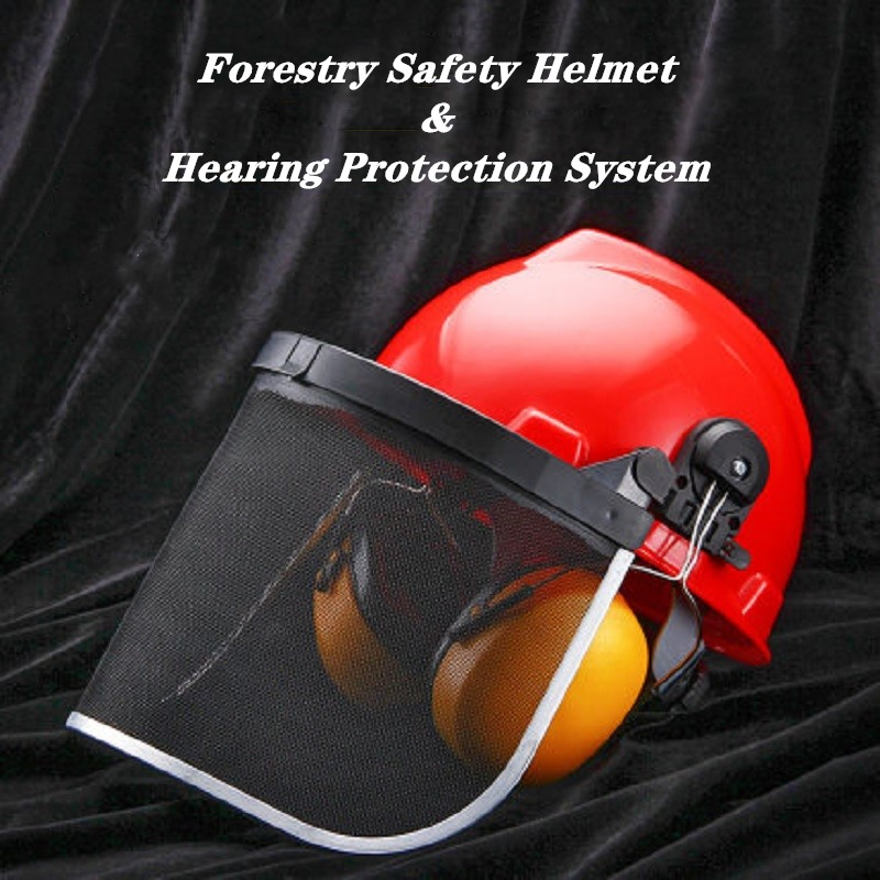 Safety Helmet and Hearing Protection System Mesh Visor Resist Sawdust Weeds for Forestry Type Work Noise-proof Earmuff