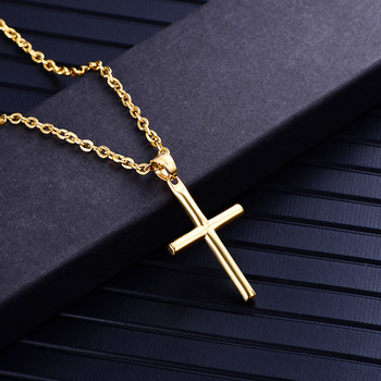 gold cross necklaces mens stainless steel pendants fashion necklace 2019 gifts for male accessories jewelry for neck wholesale image