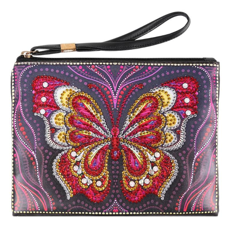 DIY Butterfly Special Shaped Diamond Paint Wristlet Wallet Women Clutch Organizer Storage Bag Embroidery Stitch Christmas GifT