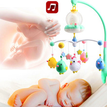 Baby toy Rattles Crib Mobile Music Box Night Light Rotation Sleeping Bed Toy Hanging bed