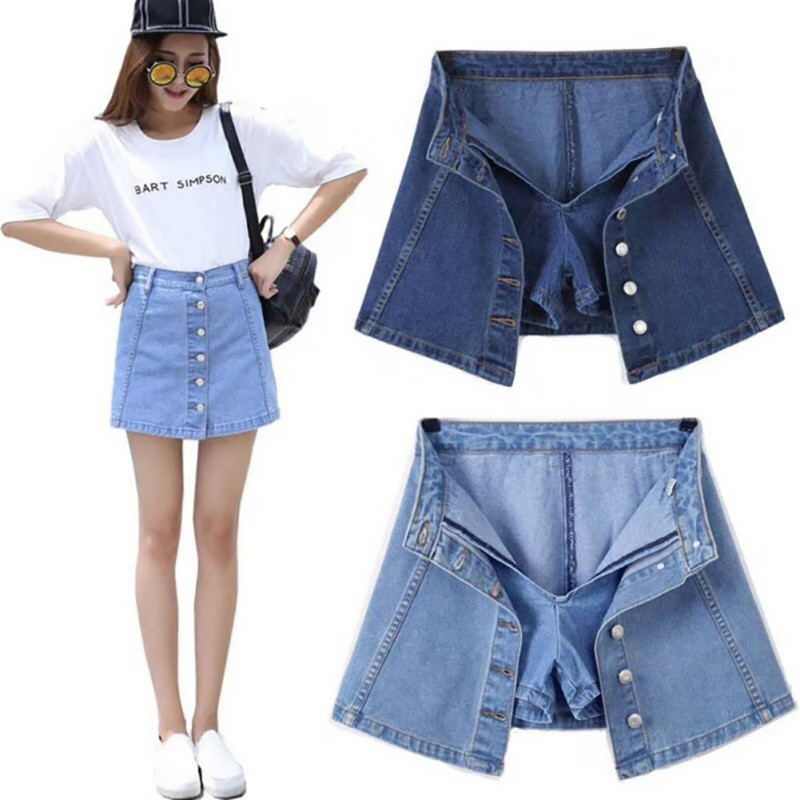 Women's Denim Skirt Spring Summer Autumn Cowboy Skirts Ladies Breasts A-line Mini Skirt