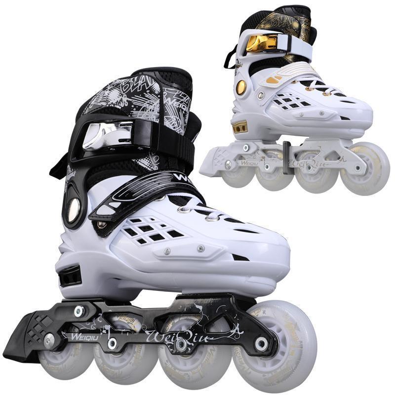 Inline Roller Skate Skating Shoe Flash Wheel Adult Sneaker Adjustable Roller Skates Professional Black White Skating Patines