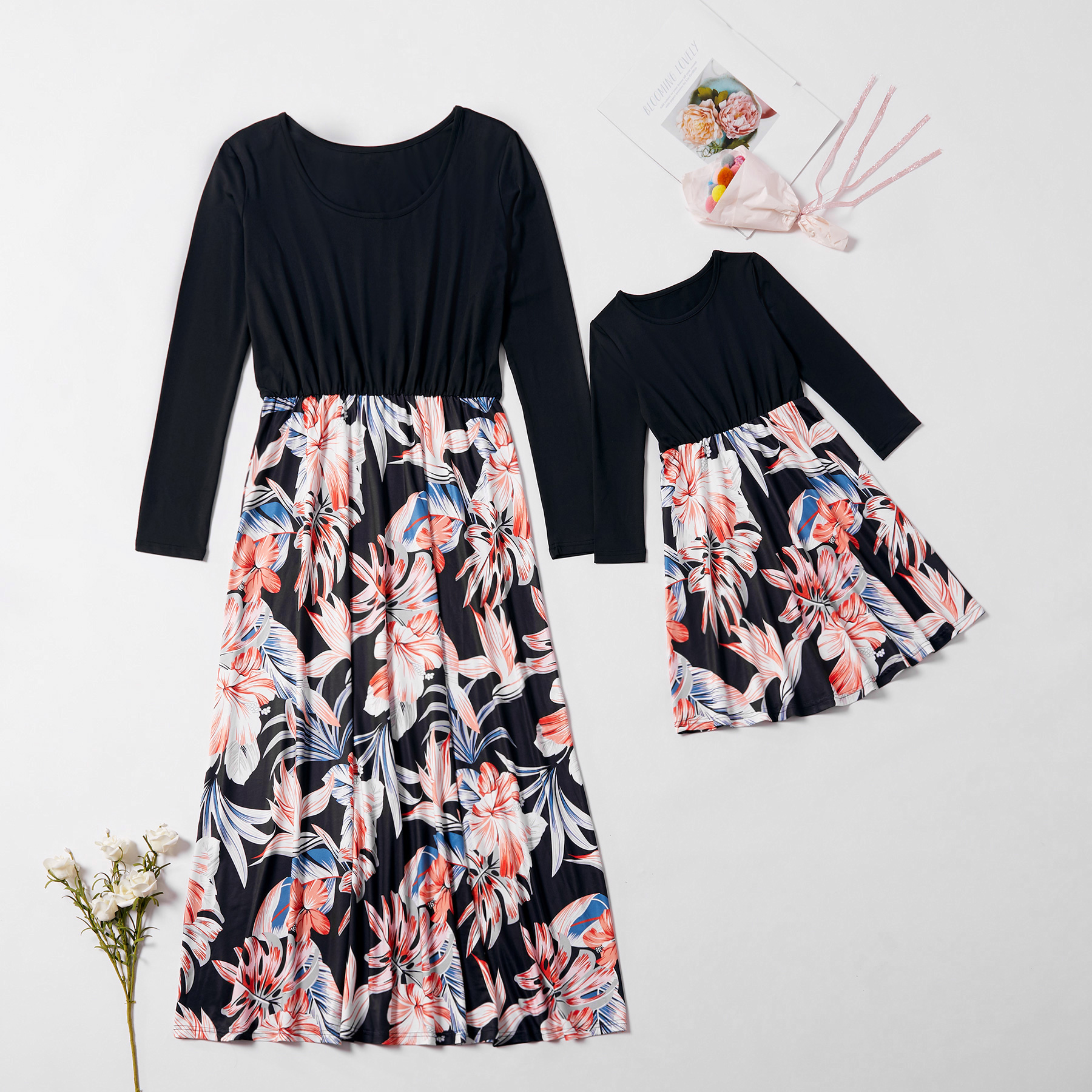 Full Sleeve Mother Daughter Dresses Spring Mommy And Me Clothes Family Matching Outfits Look Mom Mum And Baby Women Girls Dress