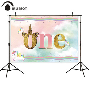 Image 3 - Allenjoy Baby Shower photophone backdrop rainbow unicorn sky children 1st birthday party photo background photocall photo studio