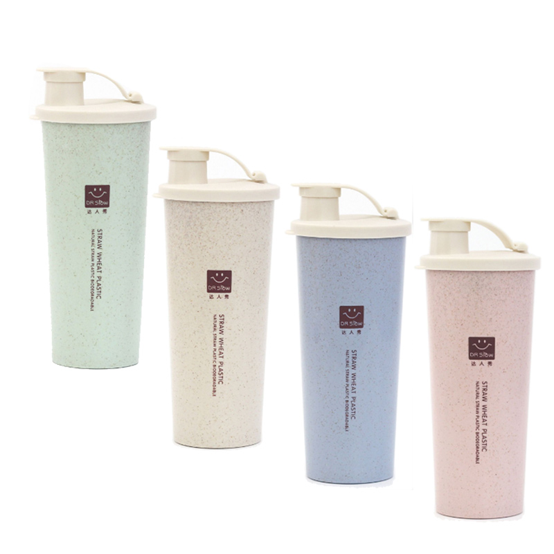450ml Plastic Water Bottle Wheat Straw Travel Mug Office Coffee Tea Cup Mixer Sports Fitness Shaker Student Milk Bottles