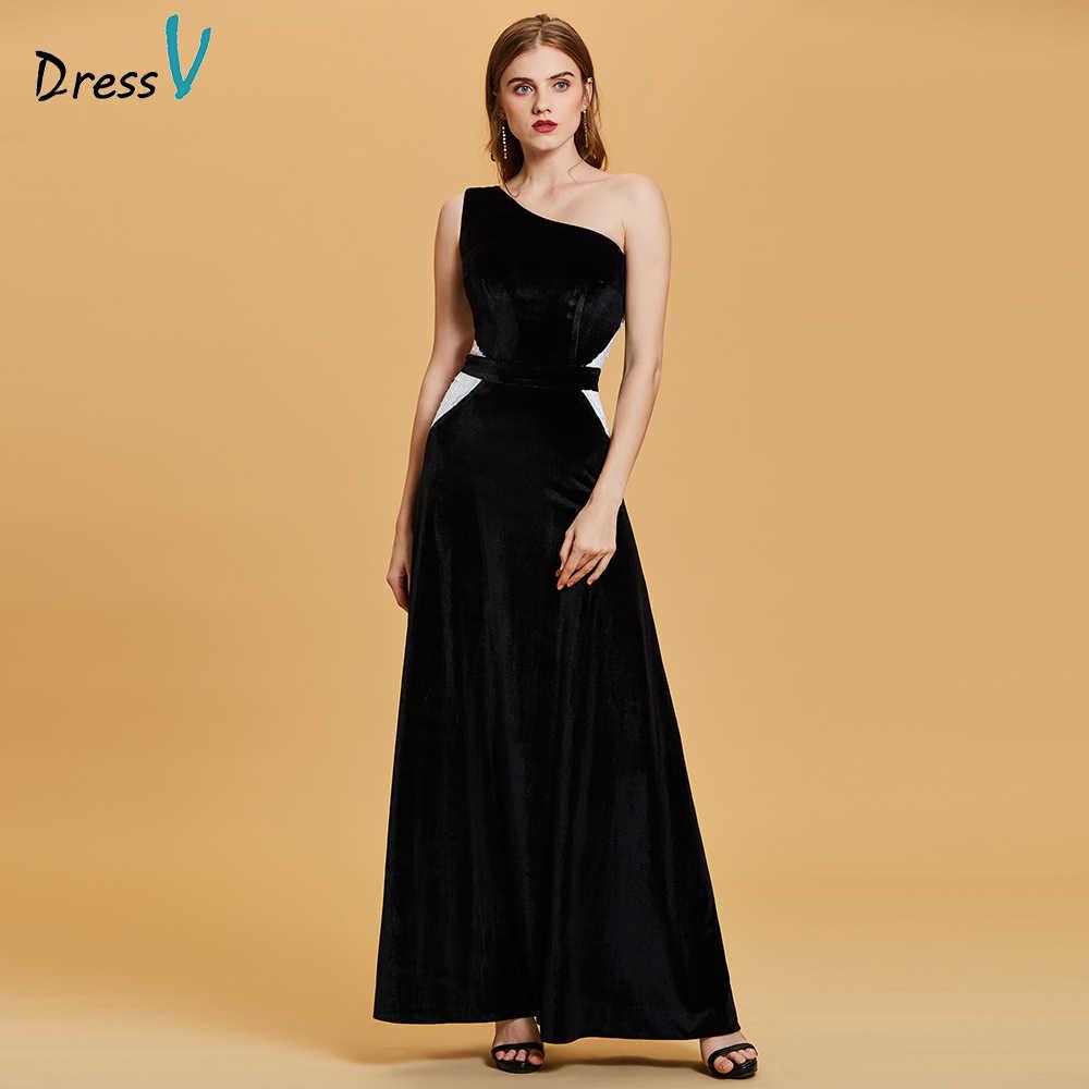 Dressv 한 어깨 이브닝 드레스 블랙 민소매 바닥 길이 라인 가운 여성 웨딩 파티 무도회 공식적인 긴 이브닝 드레스