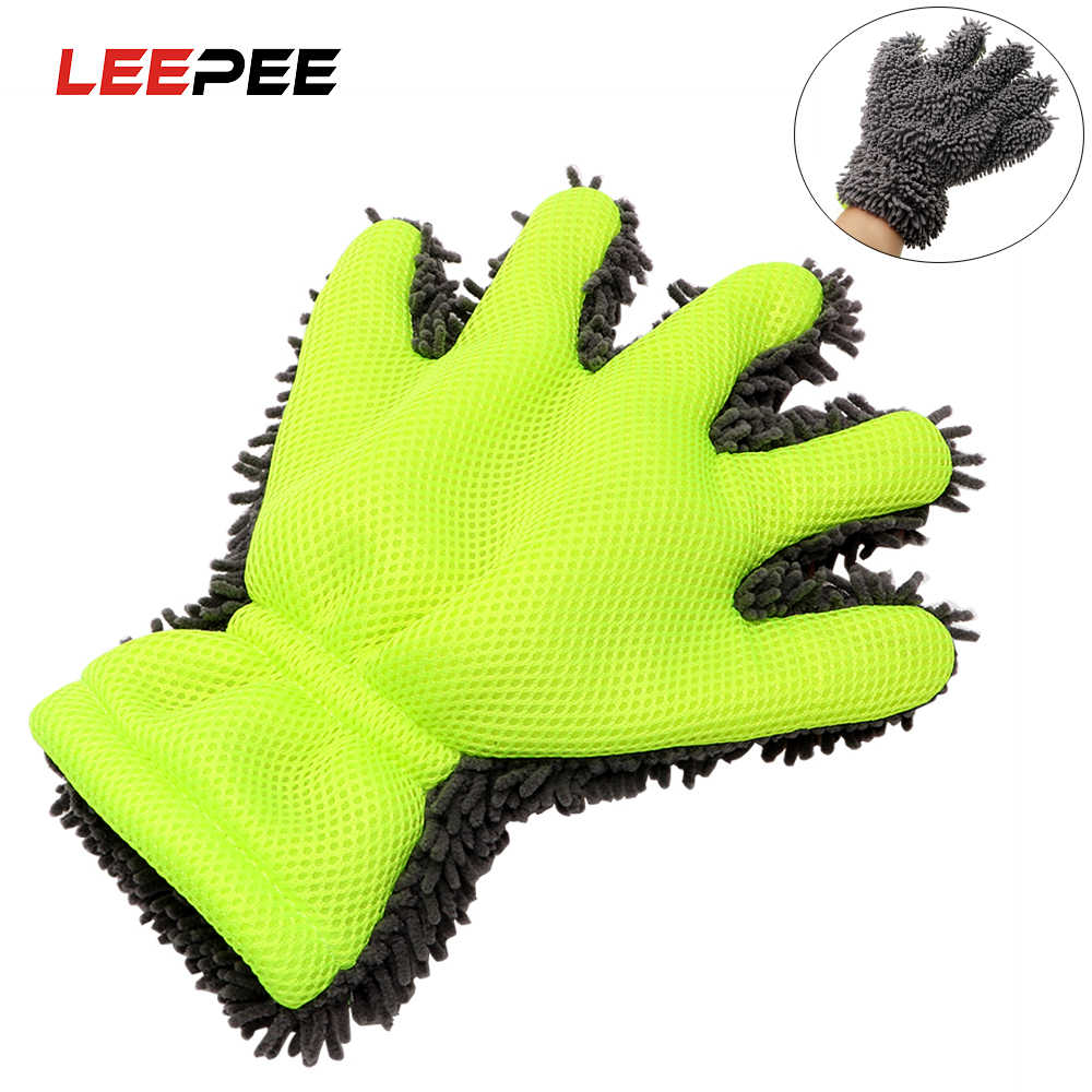 LEEPEE Soft Microfiber Car Washing Gloves Window Wash Tool Auto Care Detailing Car Accessories Vehicle Home Cleaning Usage