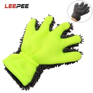 Image 1 - LEEPEE guantes de lavado para coche, herramienta de lavado de microfibra suave para ventana, cuidado automático, accesorios para coche, uso de limpieza del hogar