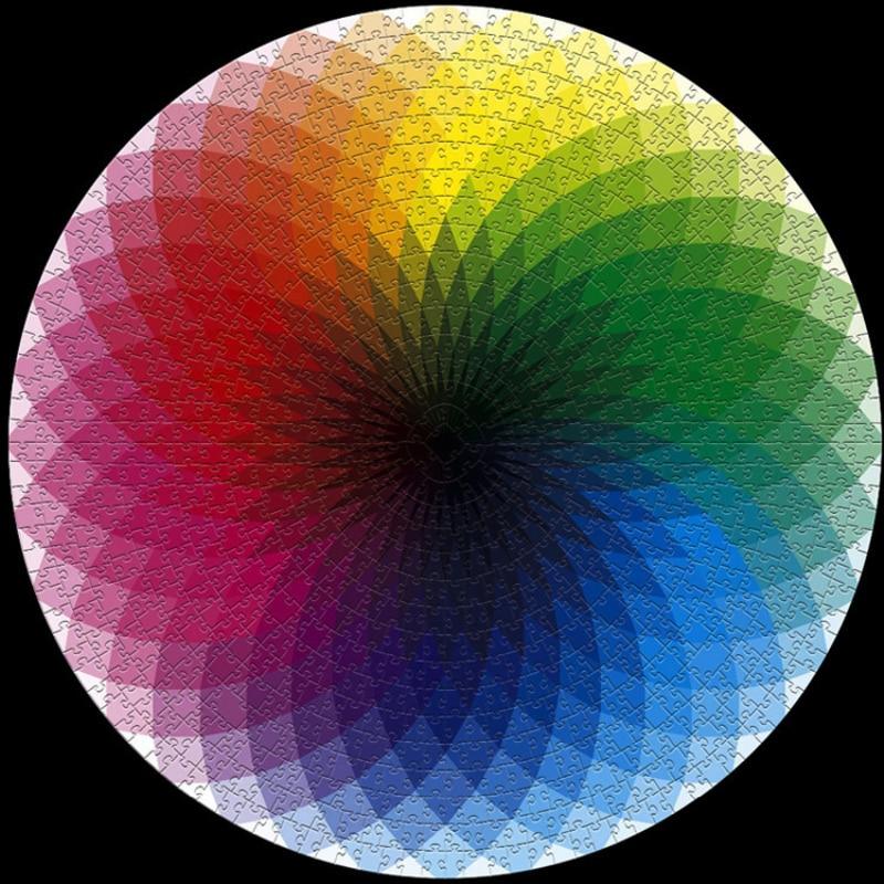 1000 Pcs/set Colorful Rainbow Round Geometrical Photopuzzle Adult Kids DIY Educational Toy Jigsaw Puzzle Paper