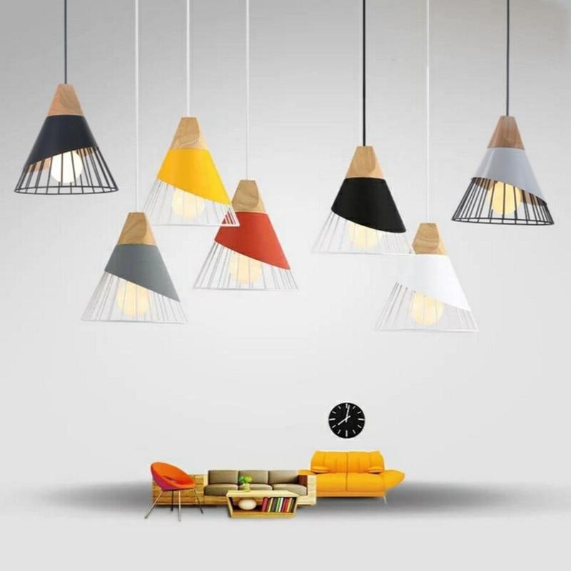 Nordic Pendant Light Woden Pendant Lamp For Home Lighting Modern Hanging Lamp Aluminum Lampshade Led Bulb Kitchen Light E27 Ing Pendant Lights Aliexpress