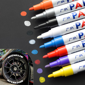 colorful Waterproof pen Car Tyre Tire Tread CD Metal Permanent Paint markers Graffiti Oily Marker Pen marcador caneta stationery new car styling permanent waterproof car tyre tire metal paint marking pen bike aug24