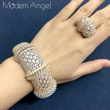 ModemAngel Luxury Big Delicate Bangle Ring Set For Women Micro Cubic Zircon Pave Party Wedding Saudi Arabic Dubai Jewelry Sets
