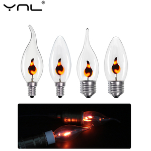 10pcs/lot E27 E14 LED Flame Candle Light Edison Bulb AC 220V 3W Retro Vintage Fire Lighting Led Filament Lamp Decor Lighting