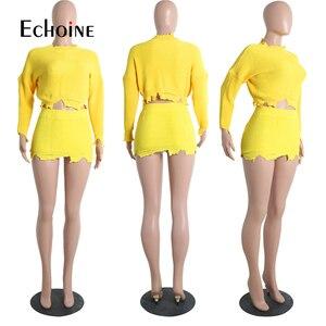 Image 4 - אופנה סתיו חורף סוודר שתי חתיכה להגדיר נשים ארוך שרוול סרוג יבול למעלה מיני חצאית מקרית חליפות Streetwear סטים תואמים