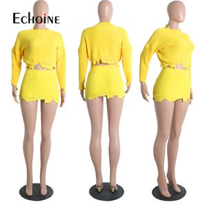 Image 4 - ファッション秋の冬のセーター 2 個セット女性長袖ニットクロップトップミニスカートカジュアルスーツストリートマッチングセット