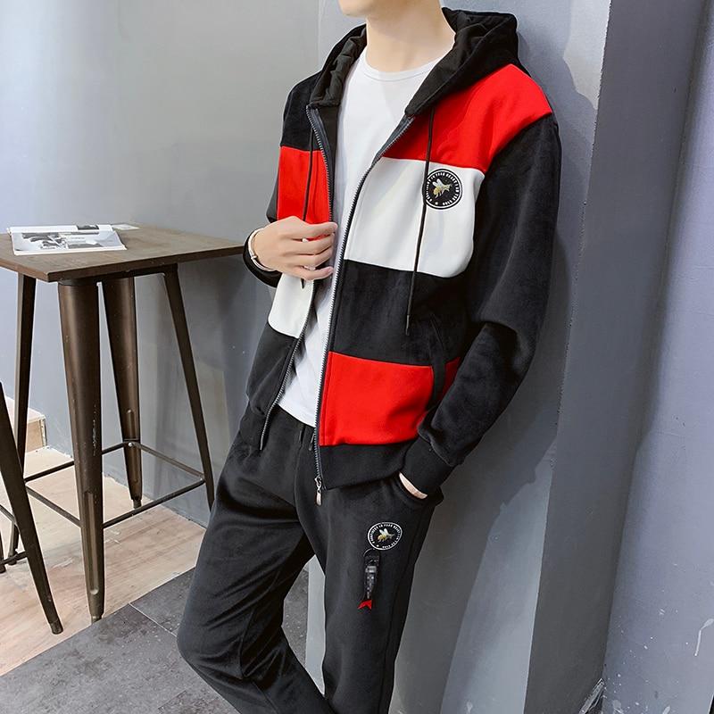 Muske Jakne Sweatshirt Pant 2 Piece Set Suits Streetwear Mens Sets Jackets+Pants Men Hooded Trainingspak Mannen Tracksuit Men