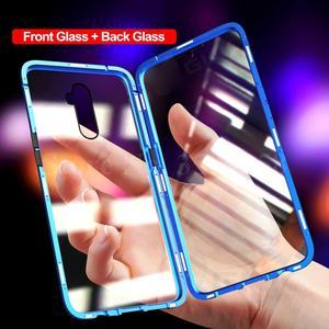 Image 3 - Двухсторонний Магнитный чехол книжка из закаленного стекла на 360 ° для oppo a5 a9 2020 realme 5 pro 5i matel, защитный чехол бампер