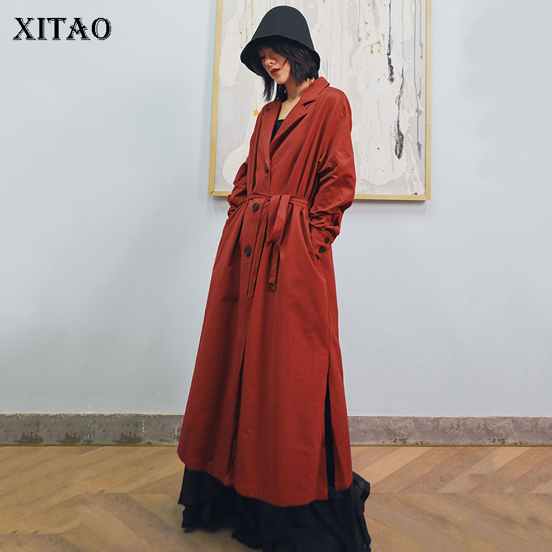 XITAO Waist Split Long   Trench   Women Korea Fashion New 2019 Autumn Single Breasted Bandage Turn Down Collar Pocket   Trench   WQR1898