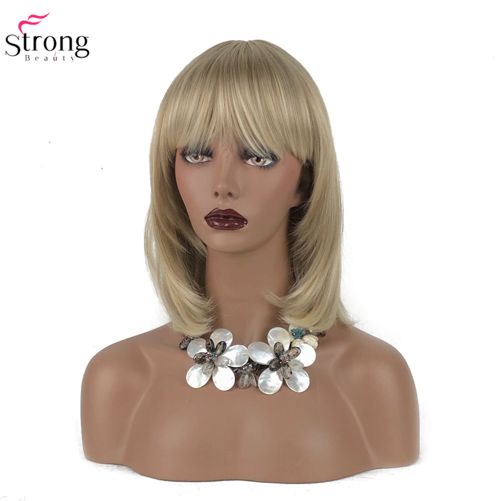 StrongBeauty Women's Synthetic Wigs Hair Blonde/Black Medium Straight Hair Neat Bang Style Natura Wig Capless