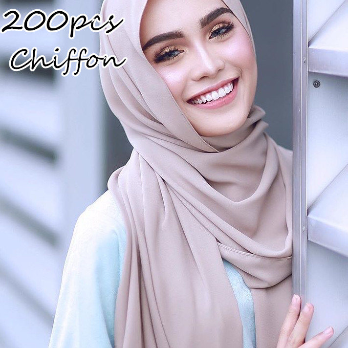 A2 200pcs High Quality Women Plain Bubble Chiffon Scarf Hijab Wrap 0 Solid Color Shawls Headband Muslim Hijabs Scarves/scarf