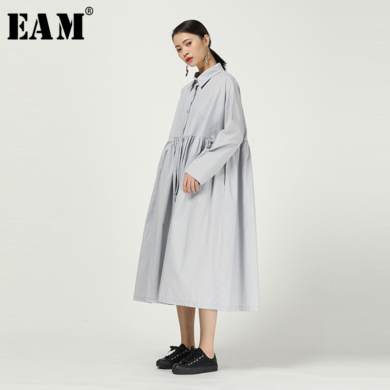 [EAM] Women Gray Pleated Split Joint Big Size Shirt Dress New Lapel Long Sleeve Loose Fit Fashion Tide Spring Autumn 2020 1N513