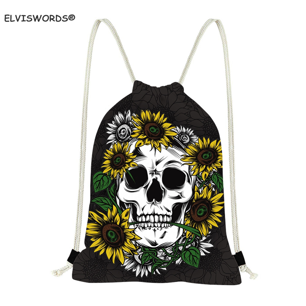 ELVISWORDS Skull Drawstring Bags Sunflower Print Women Yoga Bag Travel Beach Bag Bookbags Gift For Teenage Custom Your Logo Bags