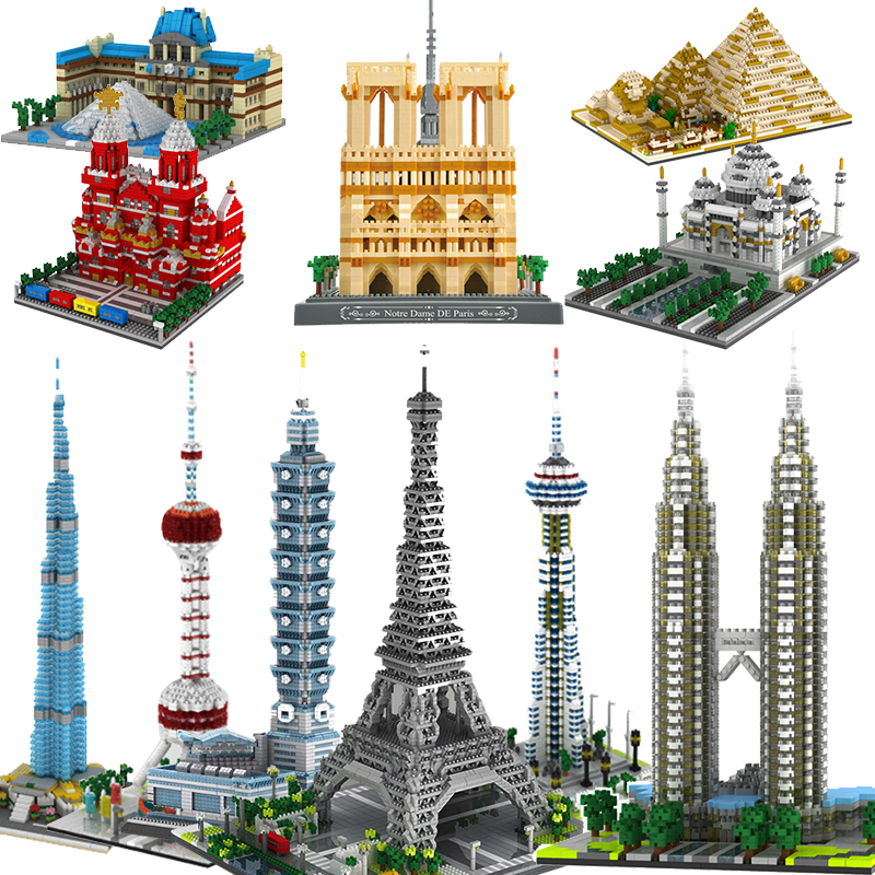 Micro Bricks Mini Blocks Architecture Triumphal Arch Pyramid Sets Model Building Kits Kids Toys Expert London Paris Eiffel Tower
