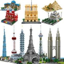 Mini bloques de construcción de Arquitectura de bloques para niños, Kit de construcción de modelo de pirámide triumpal, Torre Eiffel de Londres y París