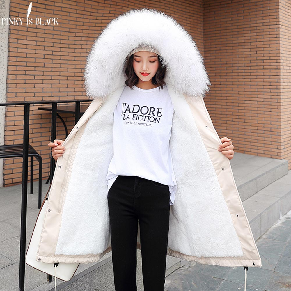 PinkyIsBlack -30 Degrees New Arrival 2019 Women Winter Jacket Hooded Fur Collar Female Long Winter Coat   Parkas   With Fur Lining