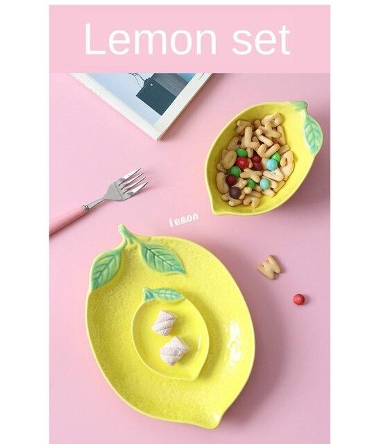 Тарелка в форме лимона керамическая тарелка миска для риса семейная