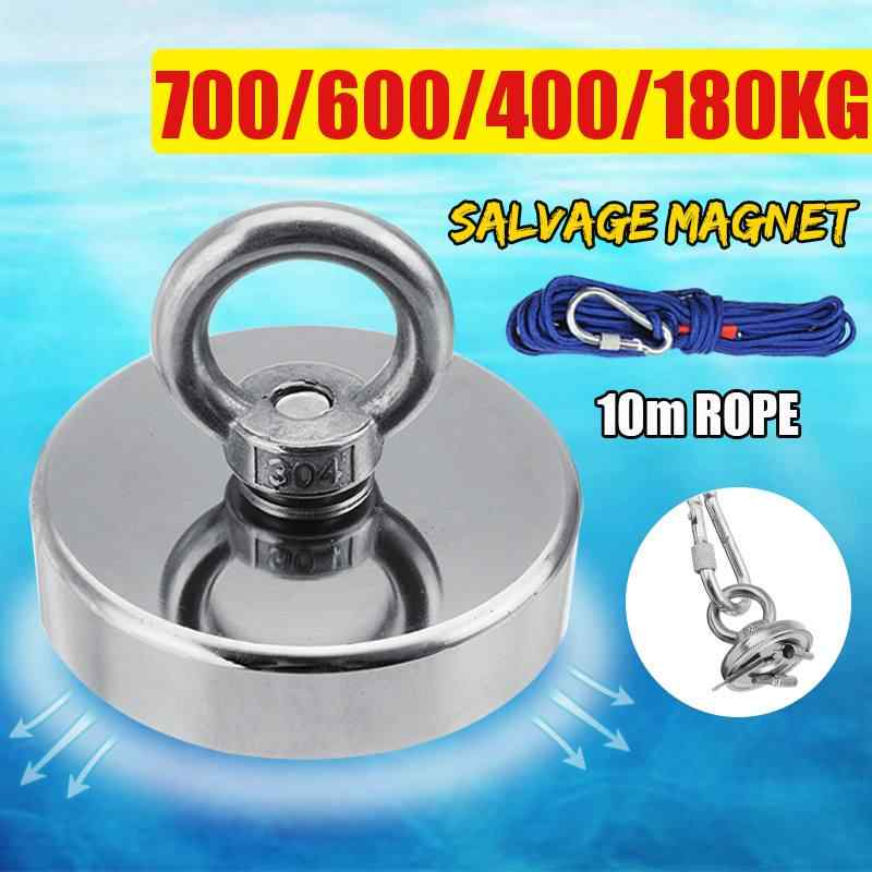 700KG Super Strong Magnet Pot Fishing Magnets Salvage Fishing Hook Magnets Strongest Permanent Powerful Magnetic+10M Rope