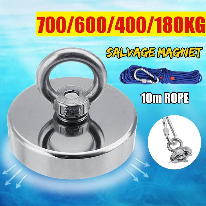700KG Super fort aimant Pot pêche aimants récupération pêche crochet aimants plus fort Permanent puissant magnétique + 10M corde