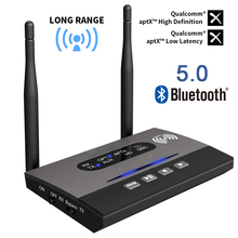 Bluetooth 5,0 Sender Empfänger Lange Palette NFC Audio Adapter AptX LL HD Optische 3,5mm RCA AUX Für TV /Home Stereo